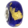 IMPPAC Glas  Spacer gold blau European Beads  925er Silber IMPPAC Silberbeads SMB0316