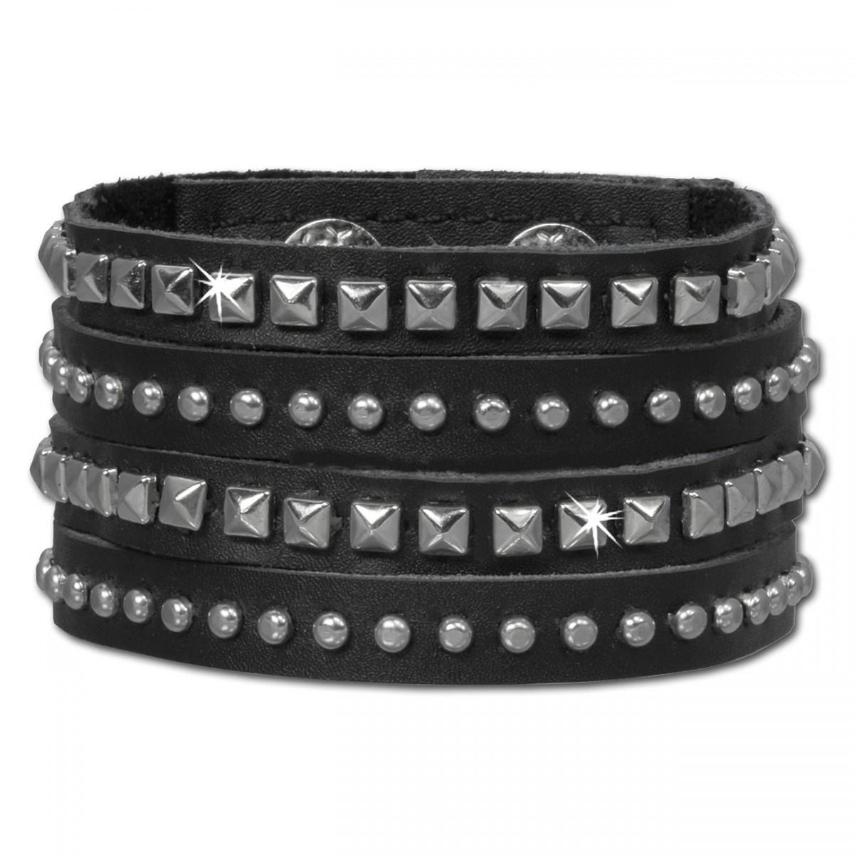 SilberDream Lederarmband schwarz CZ Damen Leder Armband LAC222S