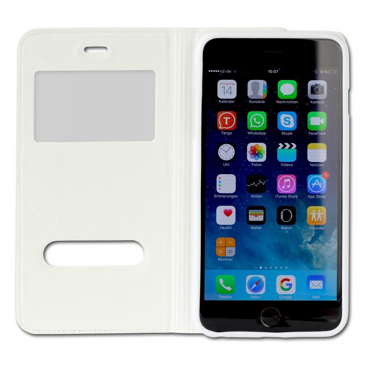 handyh lle iphone 6 plus wei bookstyle case kunstleder. Black Bedroom Furniture Sets. Home Design Ideas