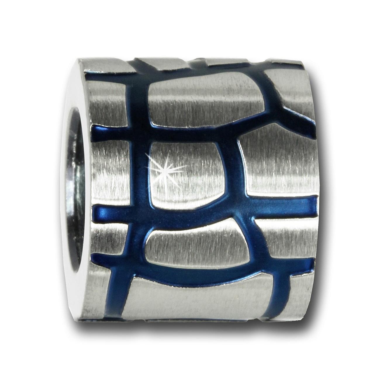 Amello Megabeads Edelstahl Bead Earth blau Armbandbead AMB054B