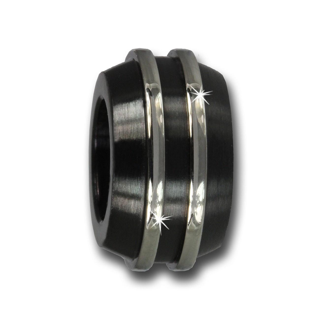 Amello Megabeads Edelstahl Bead Linie schwarz Armbandbead AMB098S