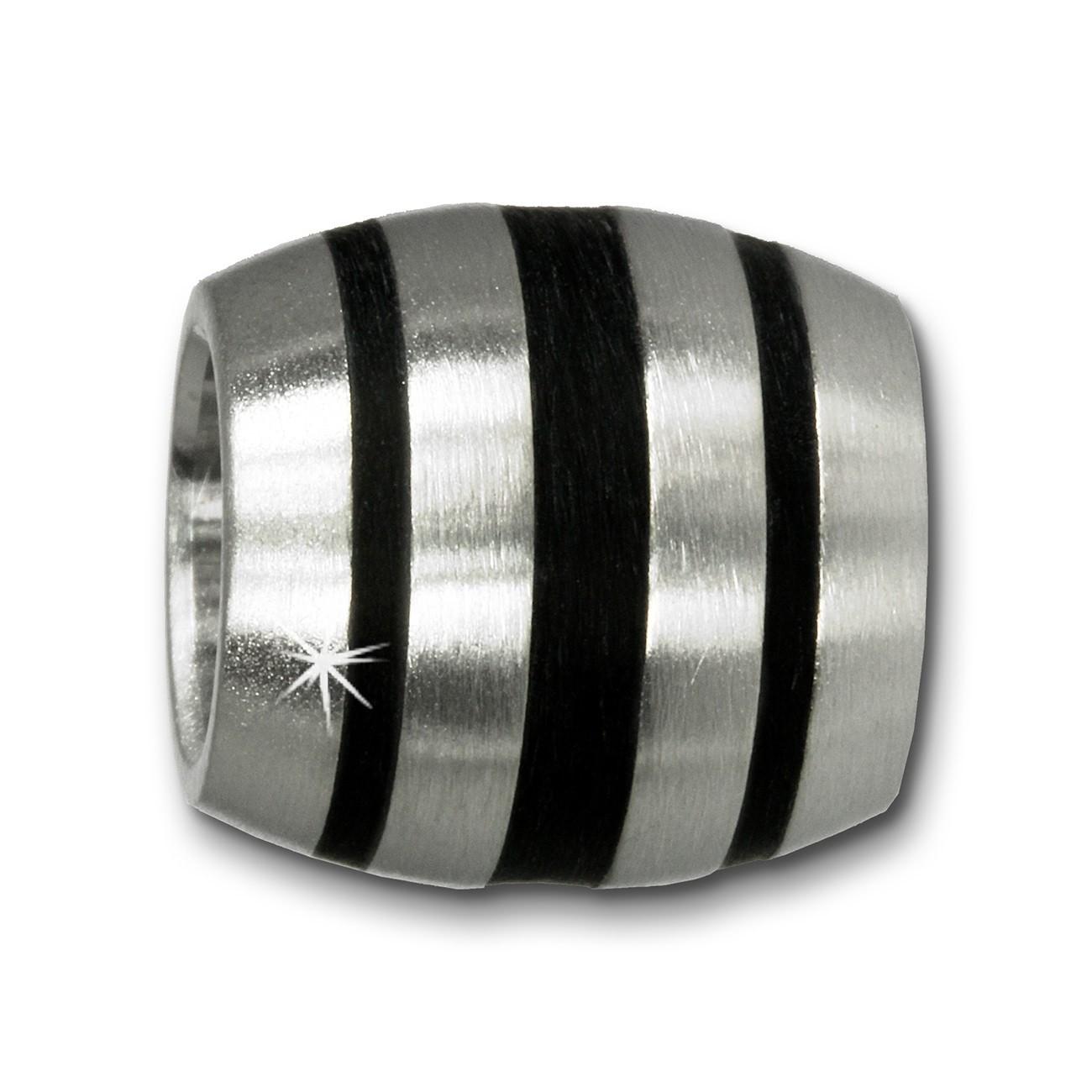 Amello Megabeads Edelstahl Bead Streifen schwarz Armbandbead AMB106S