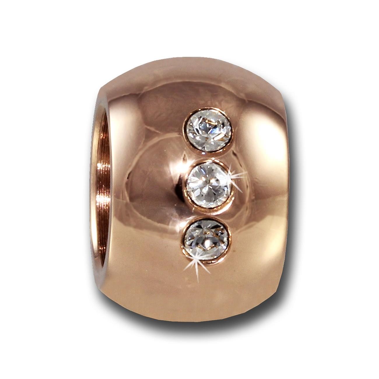 Amello Megabead Stahl Kugel rose Swarovski Elements Armband AMZ025A