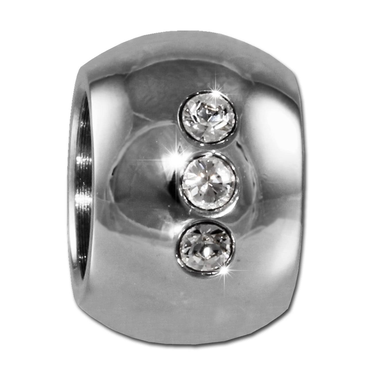 Amello Megabead Stahl Kugel weiß Swarovski Elements Armband AMZ025W