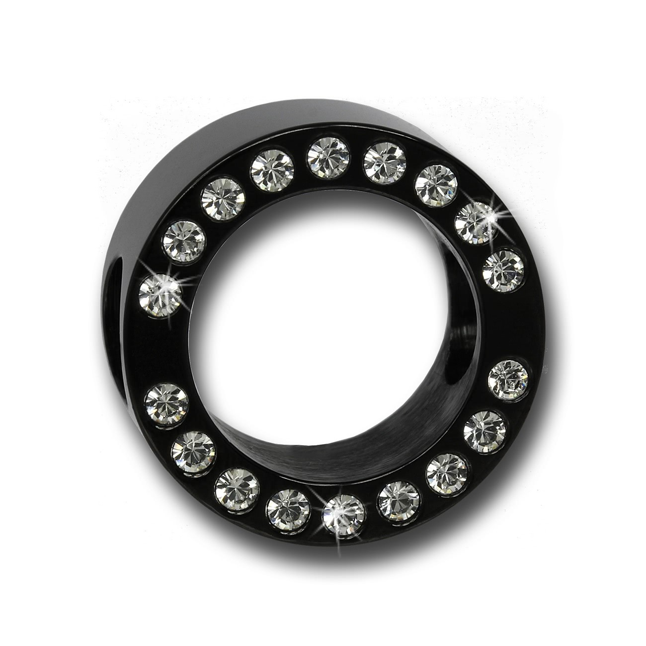Amello Megabead Stahl Swarovski Elements Rad schwarz Armband AMZ105S