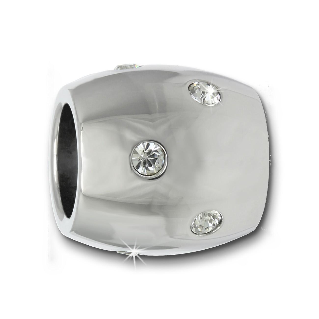 Amello Megabead Edelstahl Bead oval Swarovski Elements Armband AMZ107W