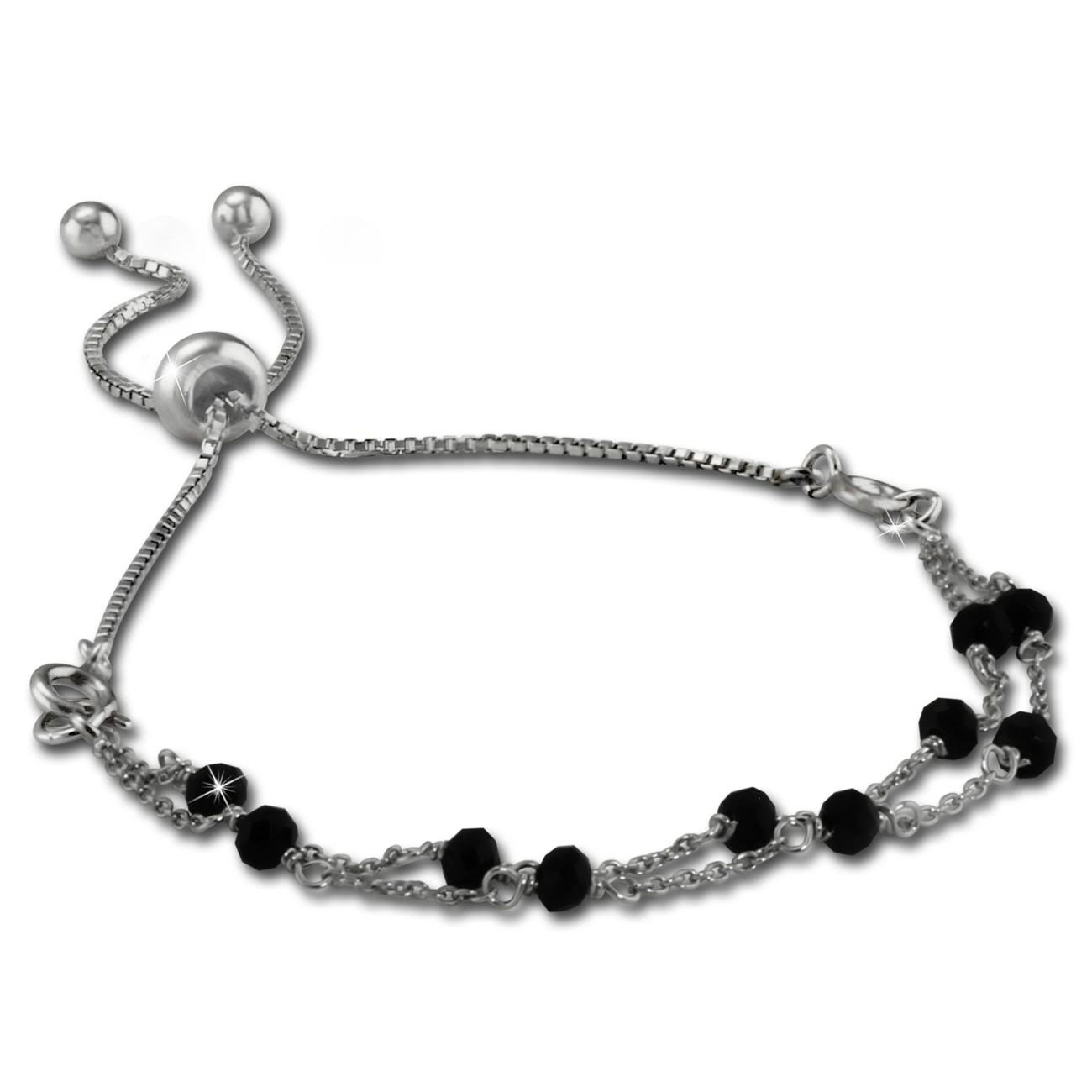 Armäleon Damenarmband Komplettset Kugeln schwarz Design+Verschluss 925er ARS012S