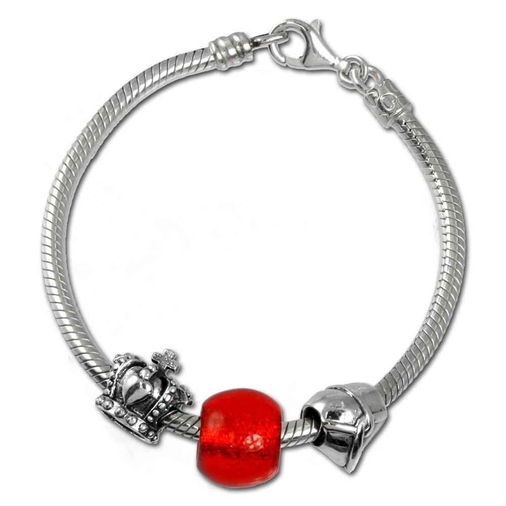 Carlo Biagi Bead Armband + 3 European Silber Beads BBA032