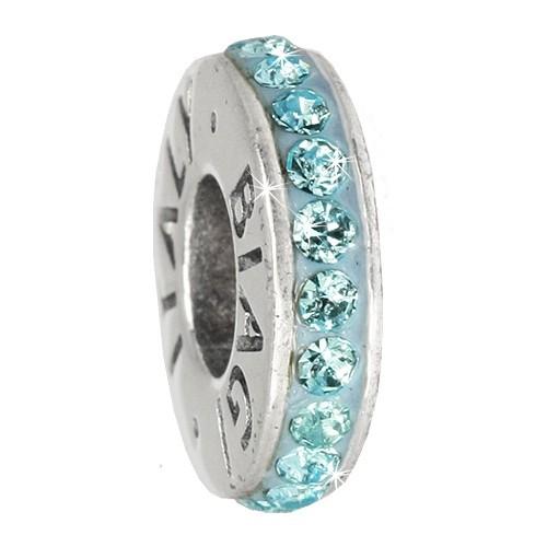 Carlo Biagi Zirkonia Bead Kristall Rondell blau Europ Beads BBCRD01B