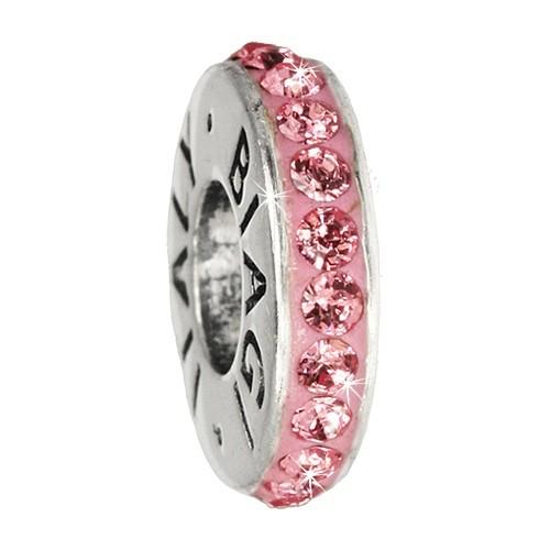 Carlo Biagi Zirkonia Bead Kristall Rondell rosa Europ Beads BBCRD01P