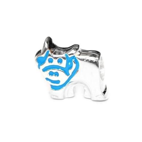 Carlo Biagi Kidz Bead Kuh blau 925 Beads für Armband KBE049
