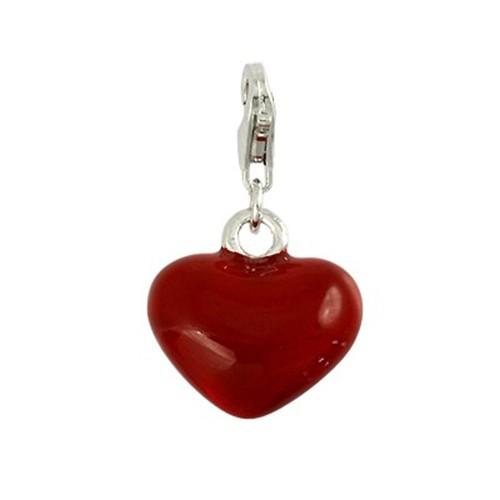 Carlo Biagi Charm Anhänger Herz rot 925 Silber CSES03R