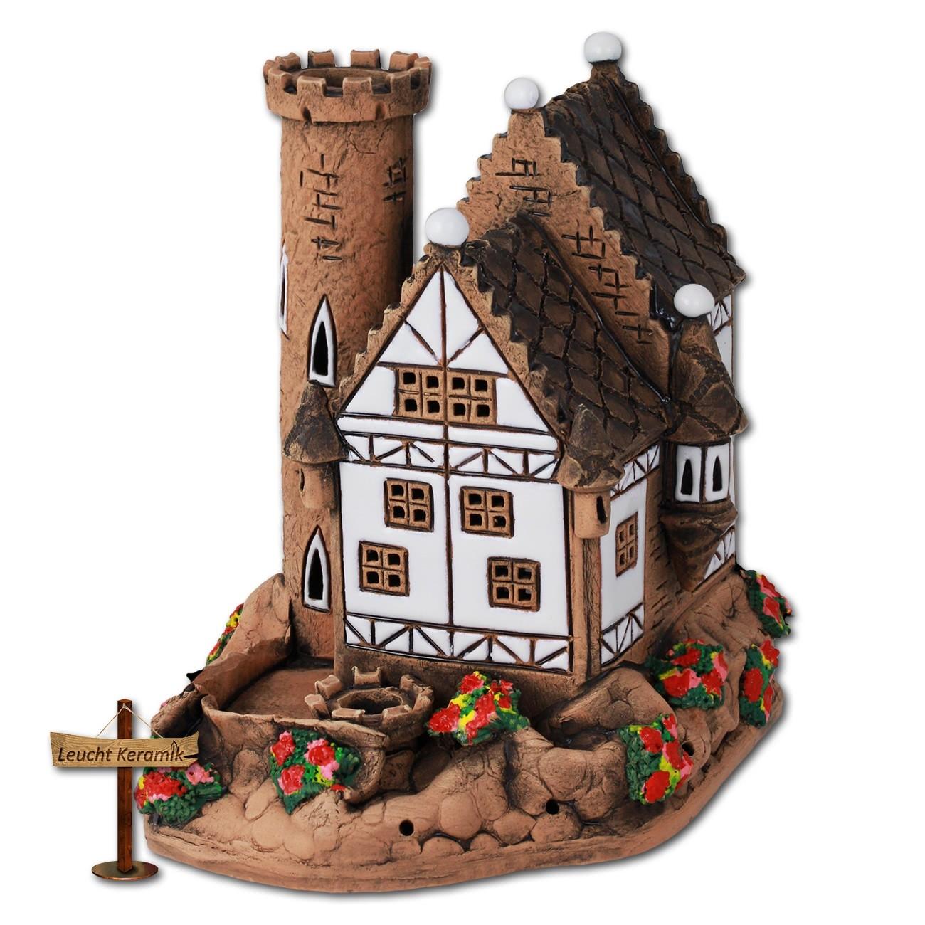 Lichthaus kleines Schloss mit Turm braun original LeuchtKeramik DKH35W