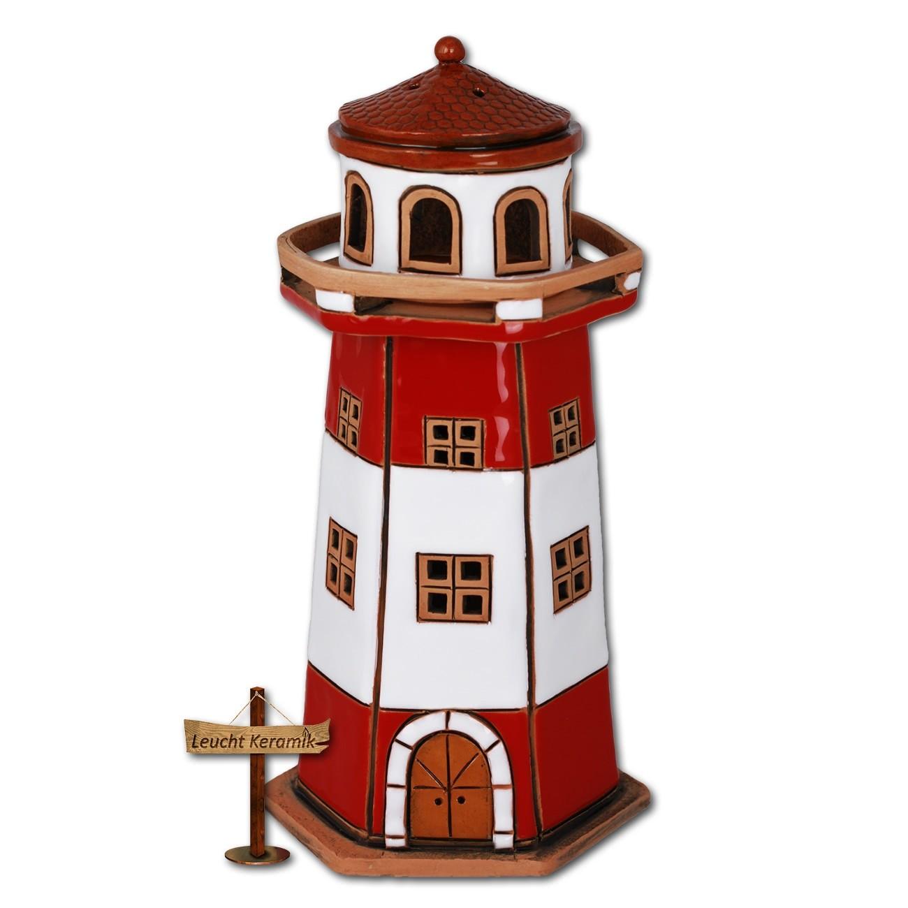 Lichthaus Leuchtturm rot-weiß original LeuchtKeramik DKH37R