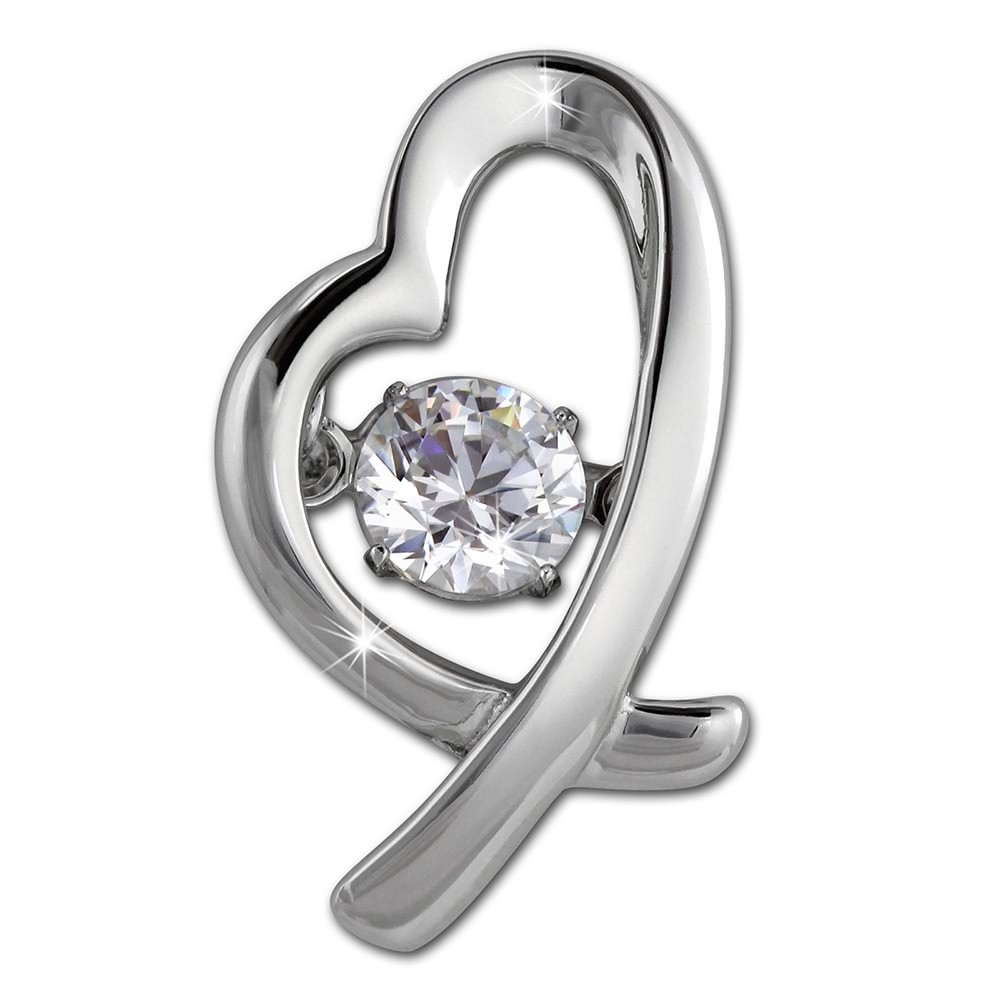 SilberDream Ketten Anhänger Herz Dancing Stone Zirkonia Silber DSH102W