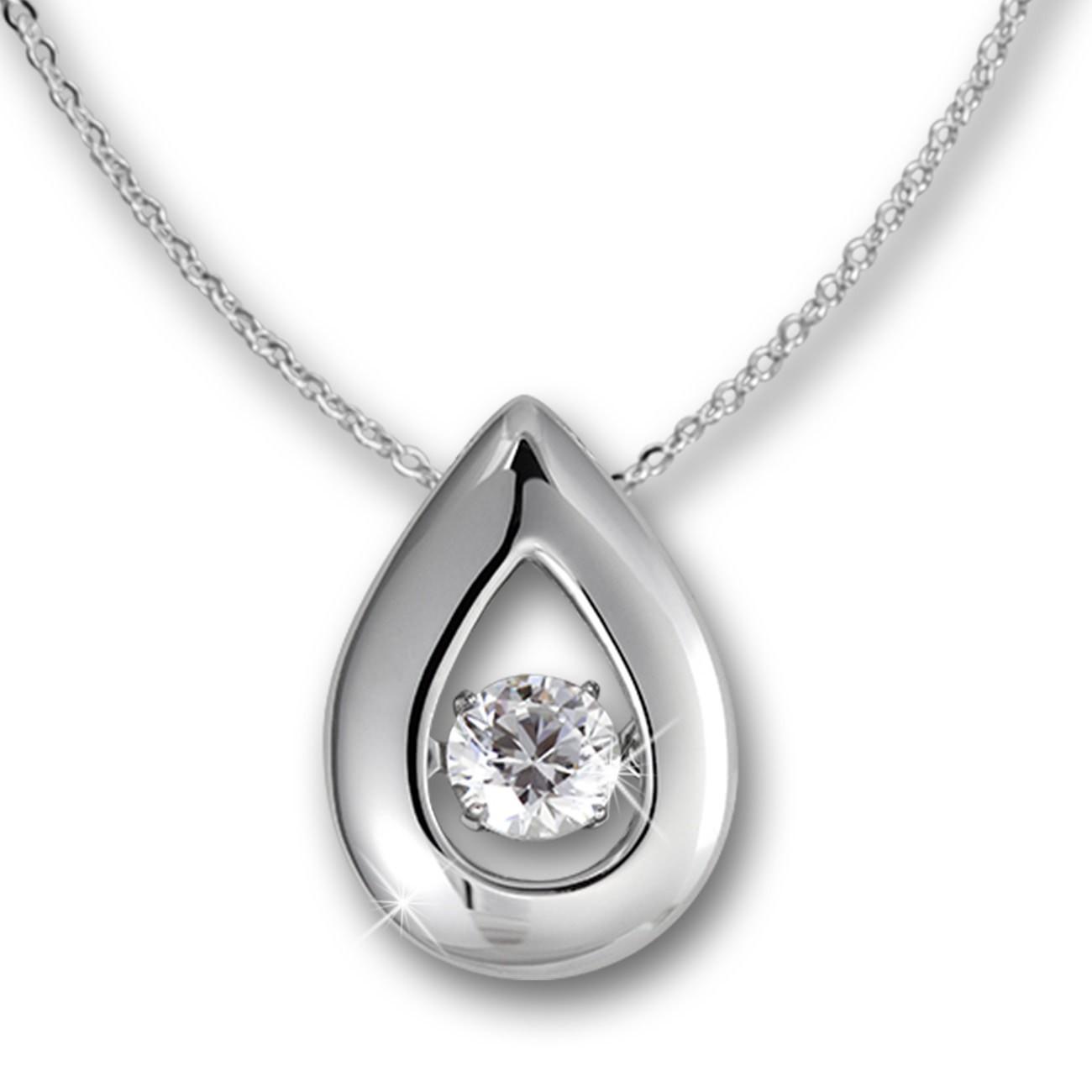 SilberDream Anhänger Tropfen Dancing Stone mit Kette Silber DSK101W