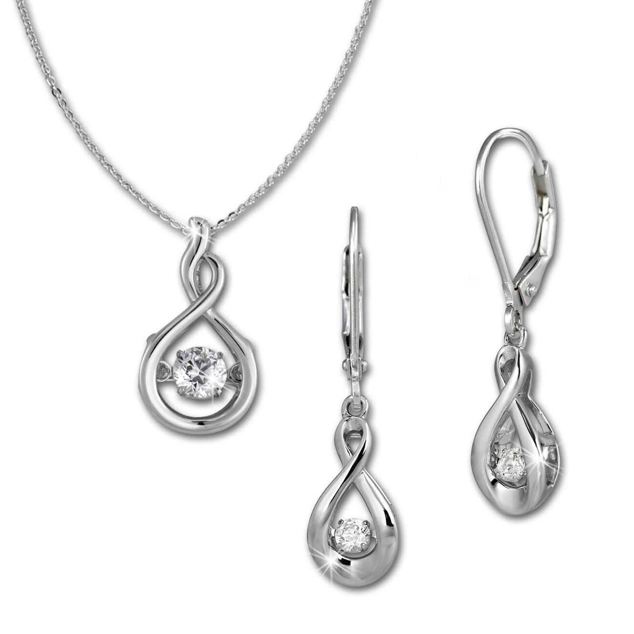 SilberDream Schmuckset Dancing Stone Ohrring+Anhänger+Kette DSS100W