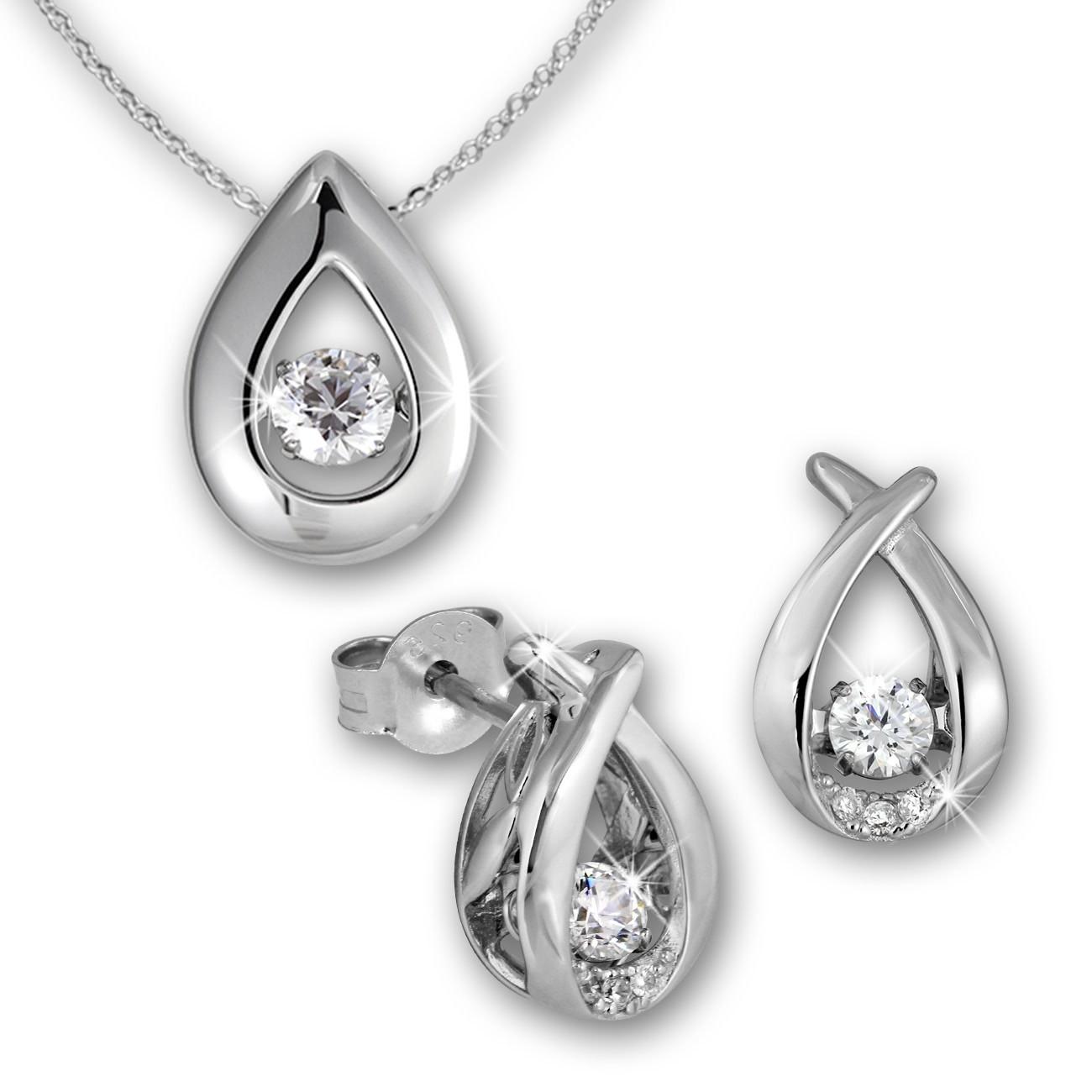 SilberDream Schmuckset Dancing Stone Ohrring+Anhänger+Kette DSS101W