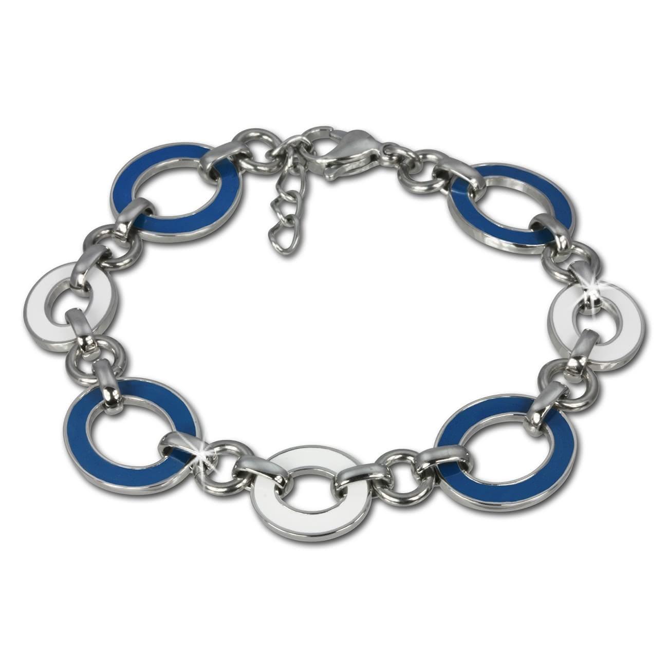 Amello Armband Oval Emaille blau/weiß Damen Edelstahlschmuck ESAG01B