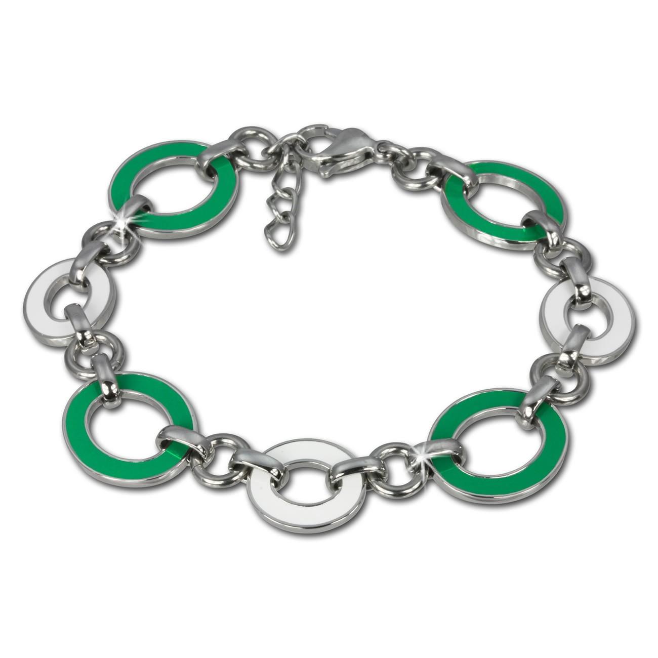 Amello Armband Oval Emaille grün/weiß Damen Edelstahlschmuck ESAG01G
