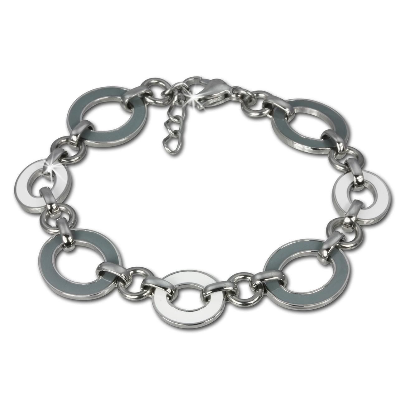 Amello Armband Oval Emaille grau/weiß Damen Edelstahlschmuck ESAG01K
