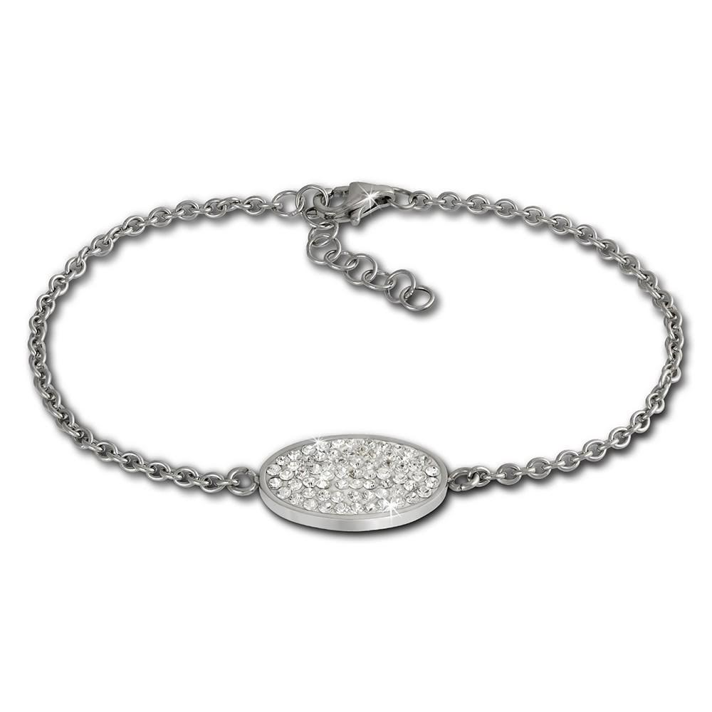 Amello Edelstahl Armband Oval 18cm weiß Damen Stahlschmuck ESAS01W