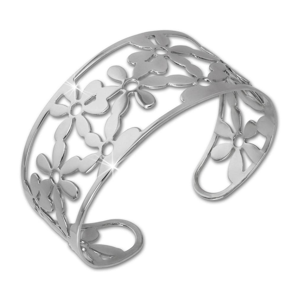 Amello Edelstahl Armspange Blumen Damen Armreif Stahlschmuck ESAS53J