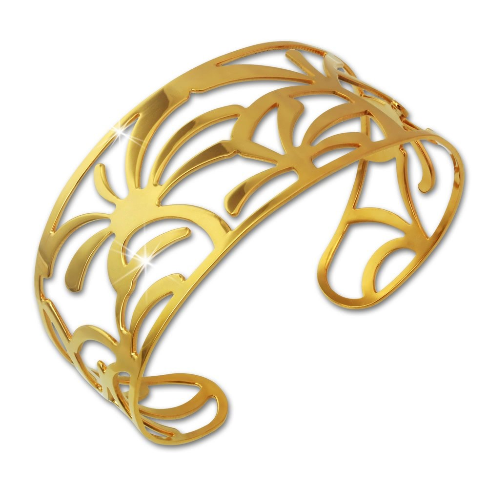 Amello Edelstahl Armspange Palmen vergoldet Damen Armreif Stahlschmuck ESAS54Y