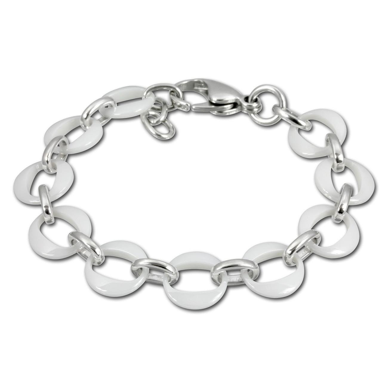 Amello Armband Keramik Ringe weiß Damen Edelstahlschmuck ESAX02W