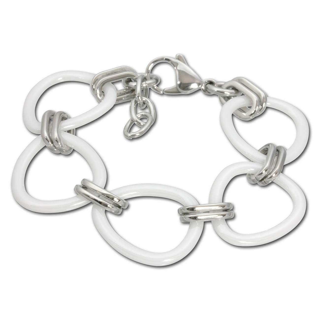 Amello Armband Keramik Dreiecke weiß Damen Edelstahlschmuck ESAX07W