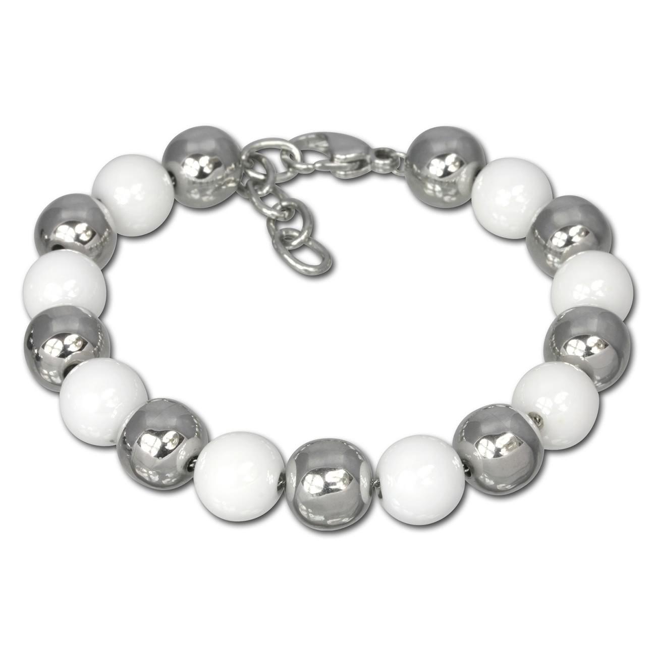Amello Armband Keramik Kugeln weiß Damen Edelstahlschmuck ESAX12W
