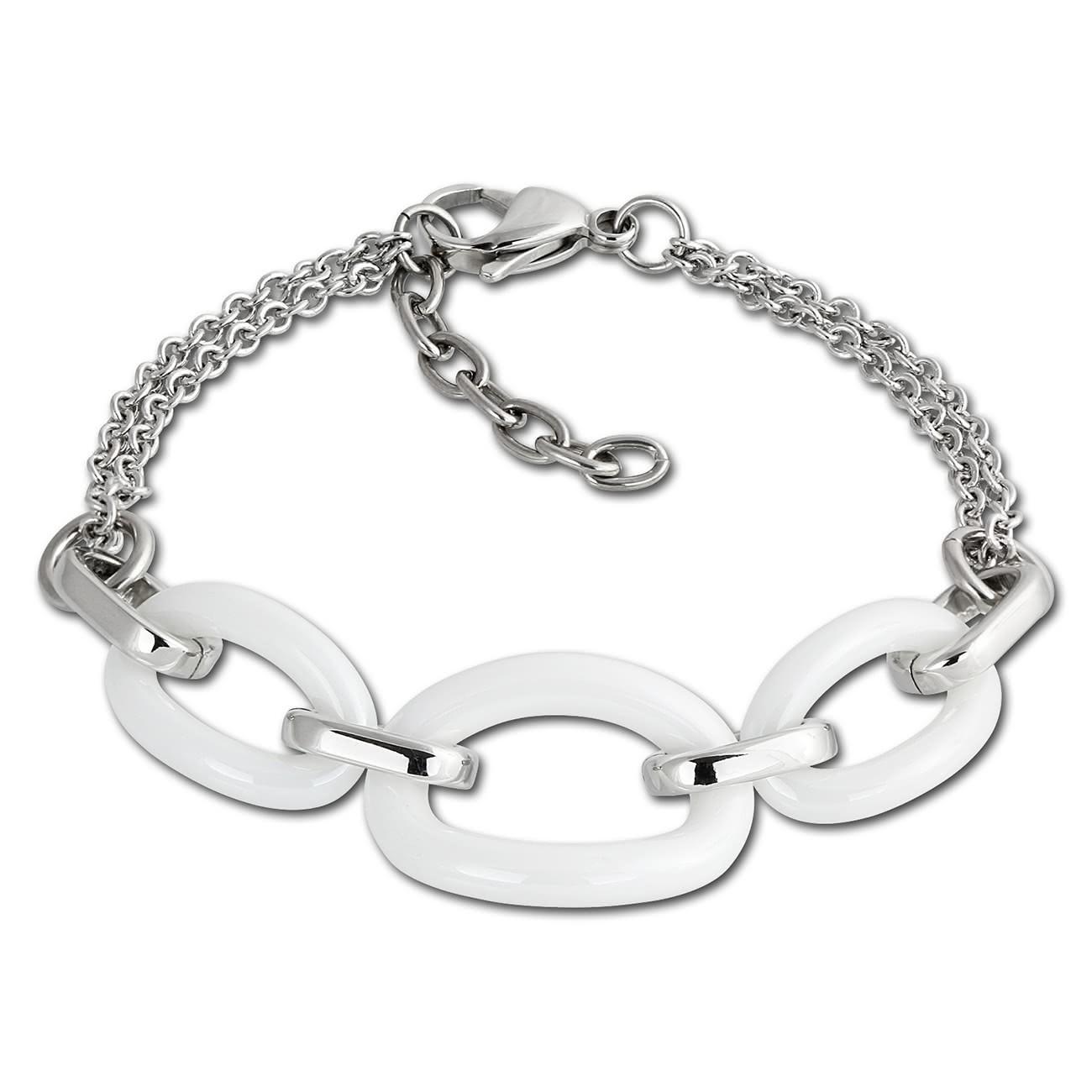 Amello Armband Keramik Ovale weiß Damen Edelstahlschmuck ESAX16W