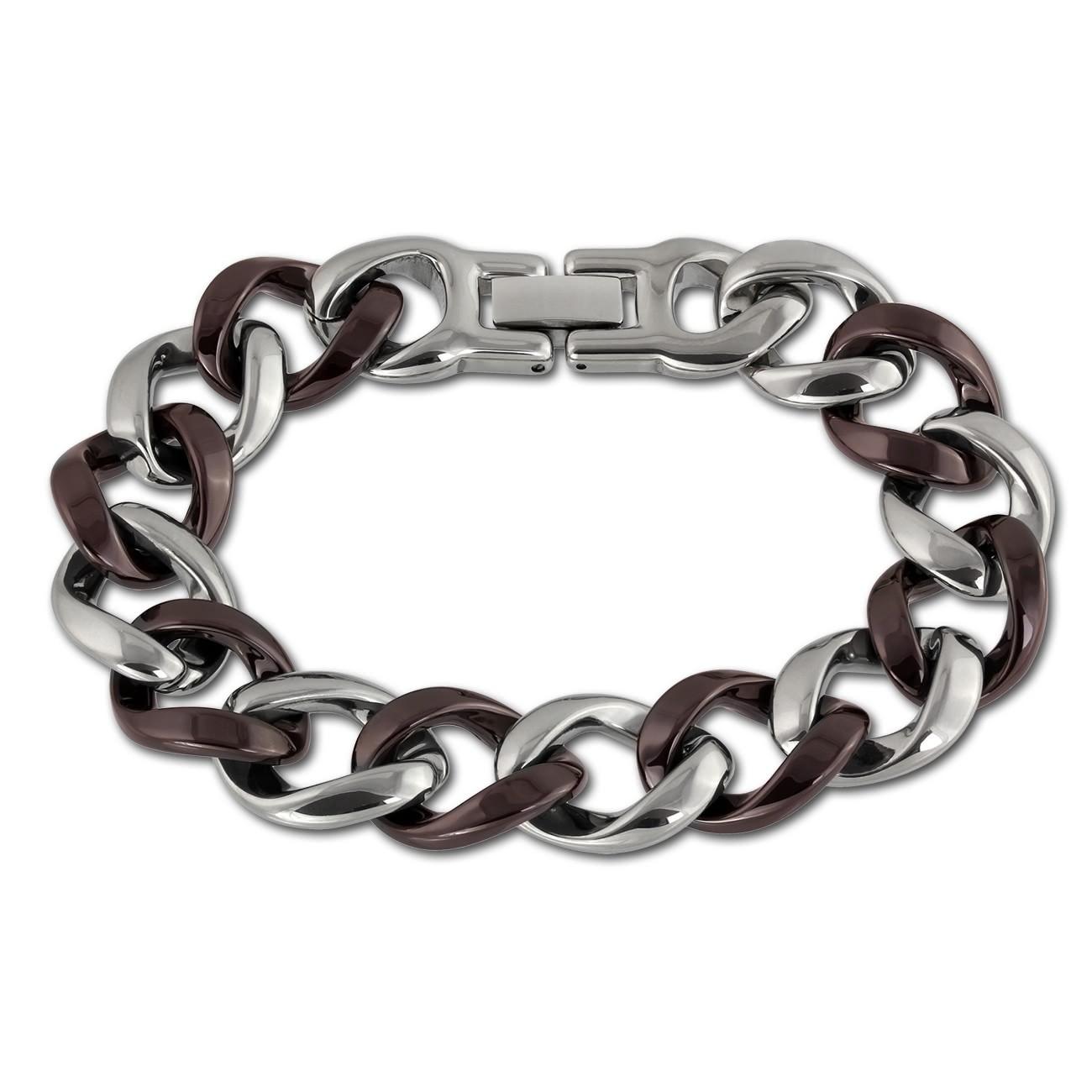 Amello Armband Keramik Panzer rotbraun Damen Edelstahlschmuck ESAX18N0