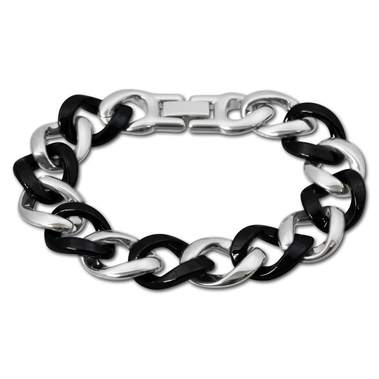 Amello Armband Keramik Panzer schwarz Damen Edelstahlschmuck ESAX18S0