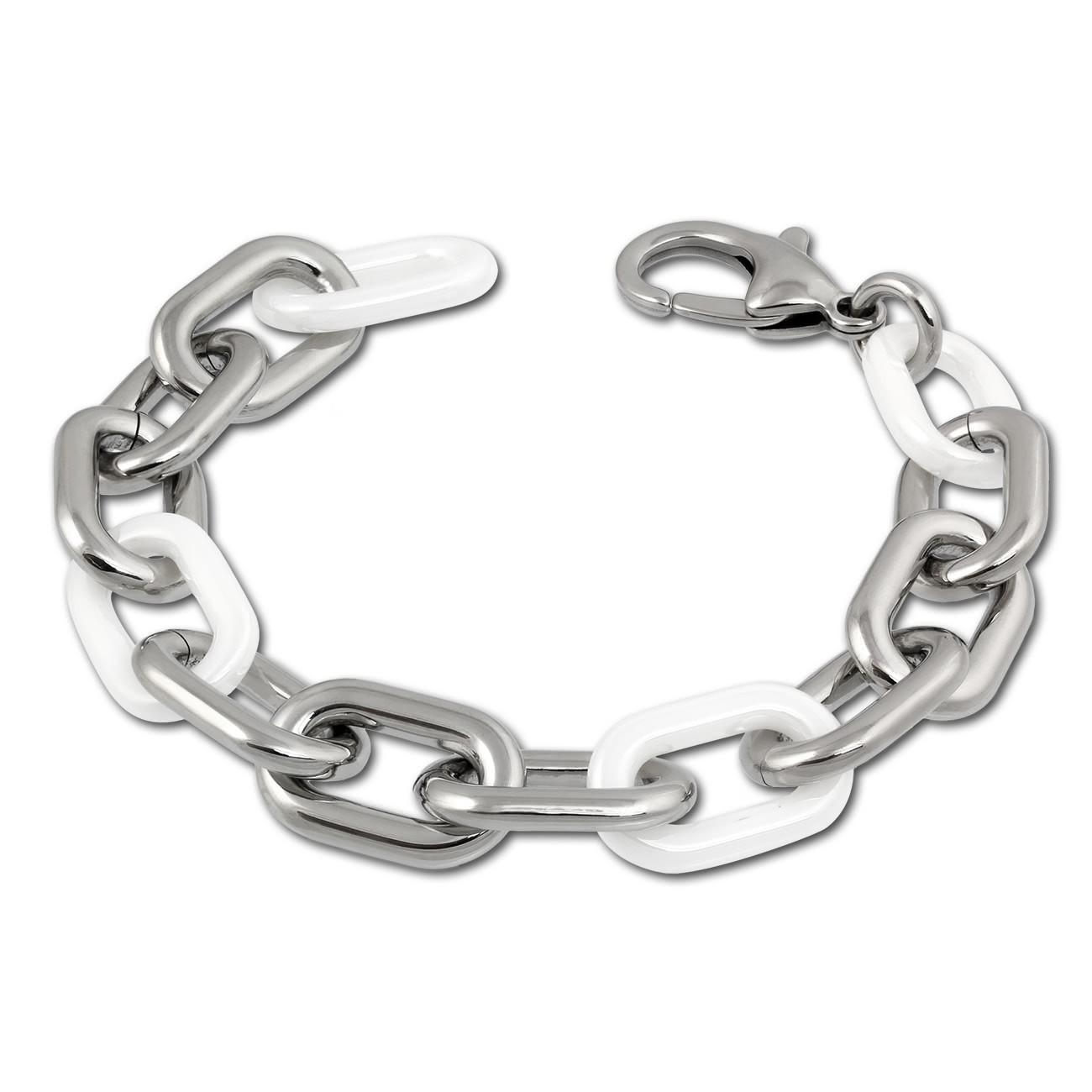 Amello Armband Keramik grobe Glieder weiß Damen Edelstahlschmuck ESAX19W9
