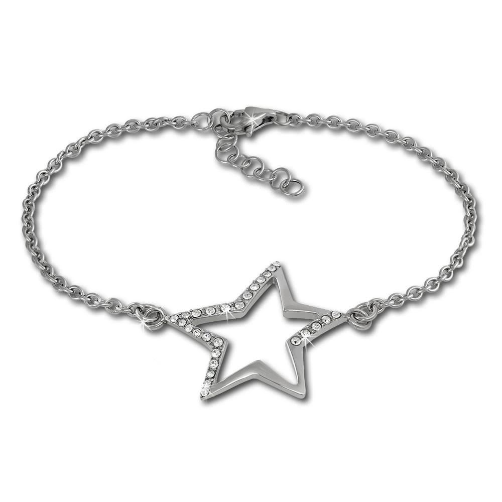 Amello Armband Stern Zirkonia weiß 18,5cm Damen Edelstahlschmuck ESAX23W8