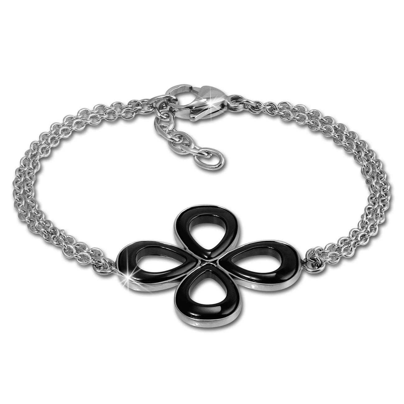 Amello Armband Keramik Blume schwarz Damen Edelstahlschmuck ESAX28S8