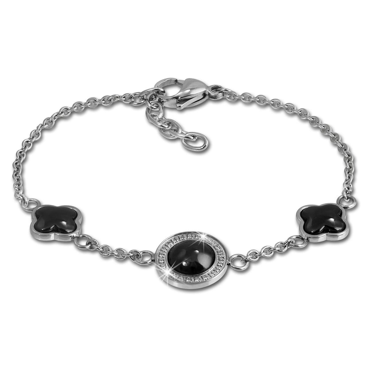 Amello Armband Keramik Rund schwarz Zirkonia Damen Edelstahlschmuck ESAX30S8