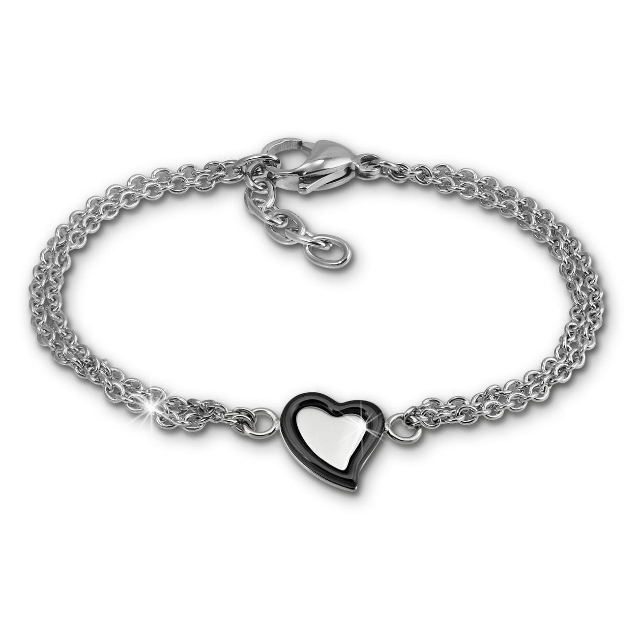 Amello Armband Keramik Herz schwarz Damen Edelstahlschmuck ESAX33S8