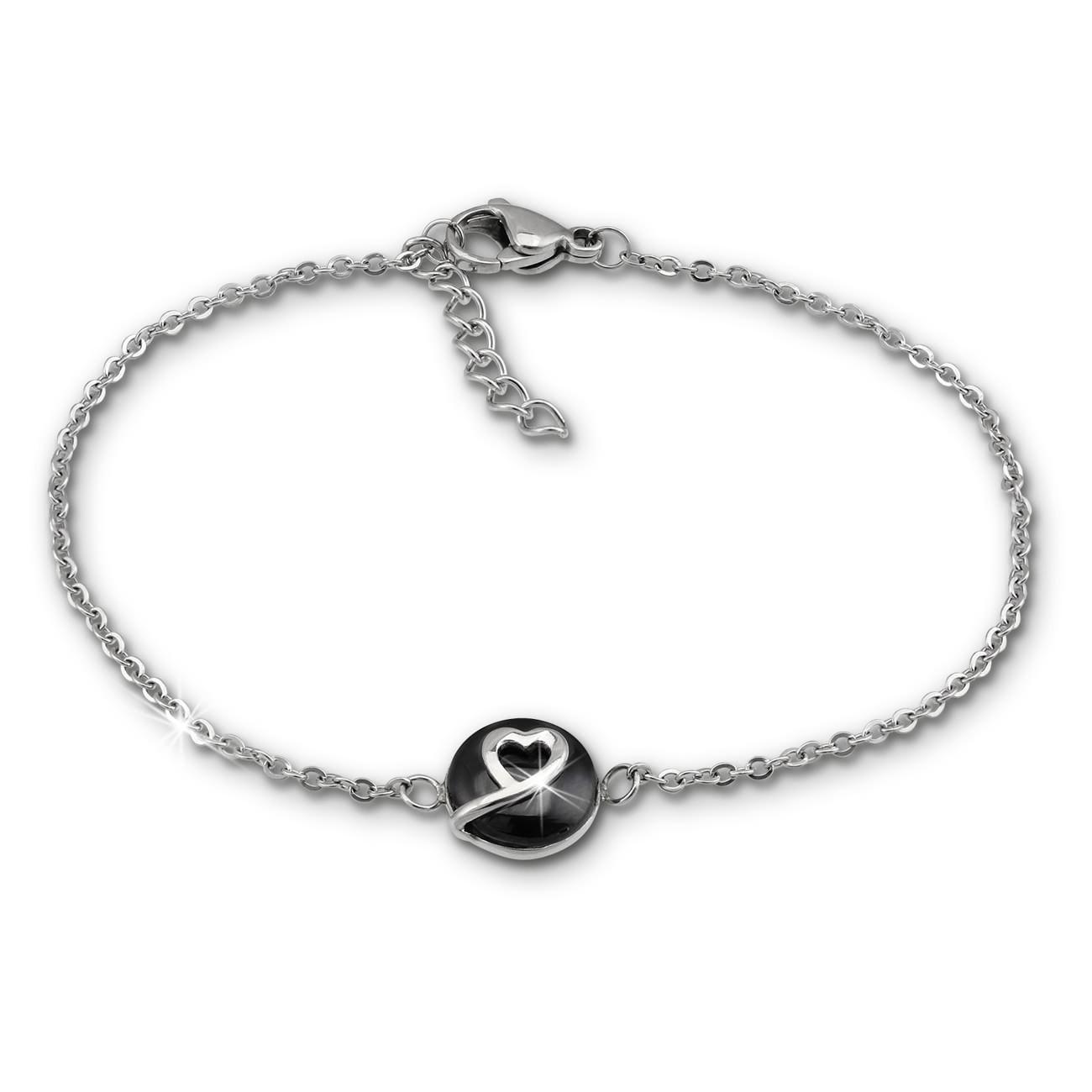 Amello Armband Keramik Herzchen schwarz Damen Edelstahlschmuck ESAX34S8