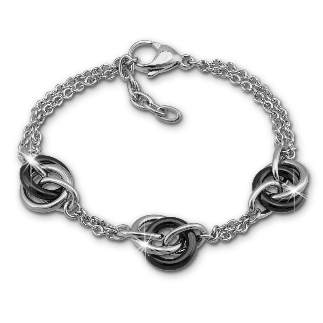 Amello Armband Keramik Ringe schwarz Damen Edelstahlschmuck ESAX37S8