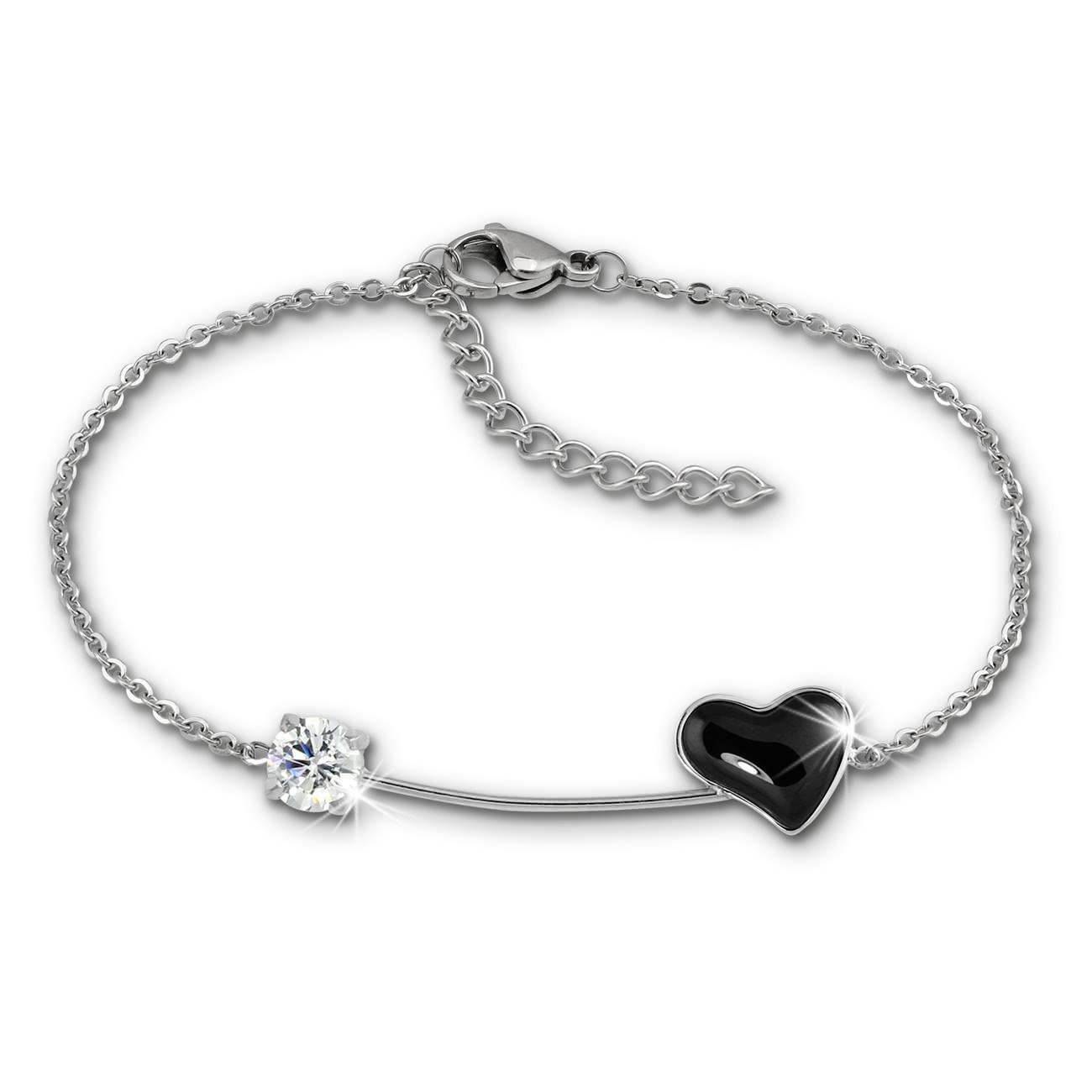 Amello Armband Keramik Herz Zirkonia schwarz Damen Edelstahlschmuck ESAX40S8