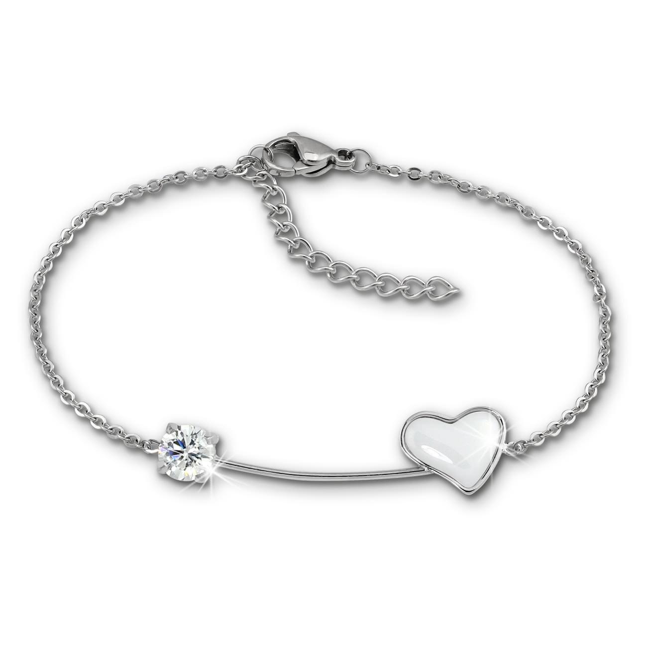 Amello Armband Keramik Herz Zirkonia weiß Damen Edelstahlschmuck ESAX40W8
