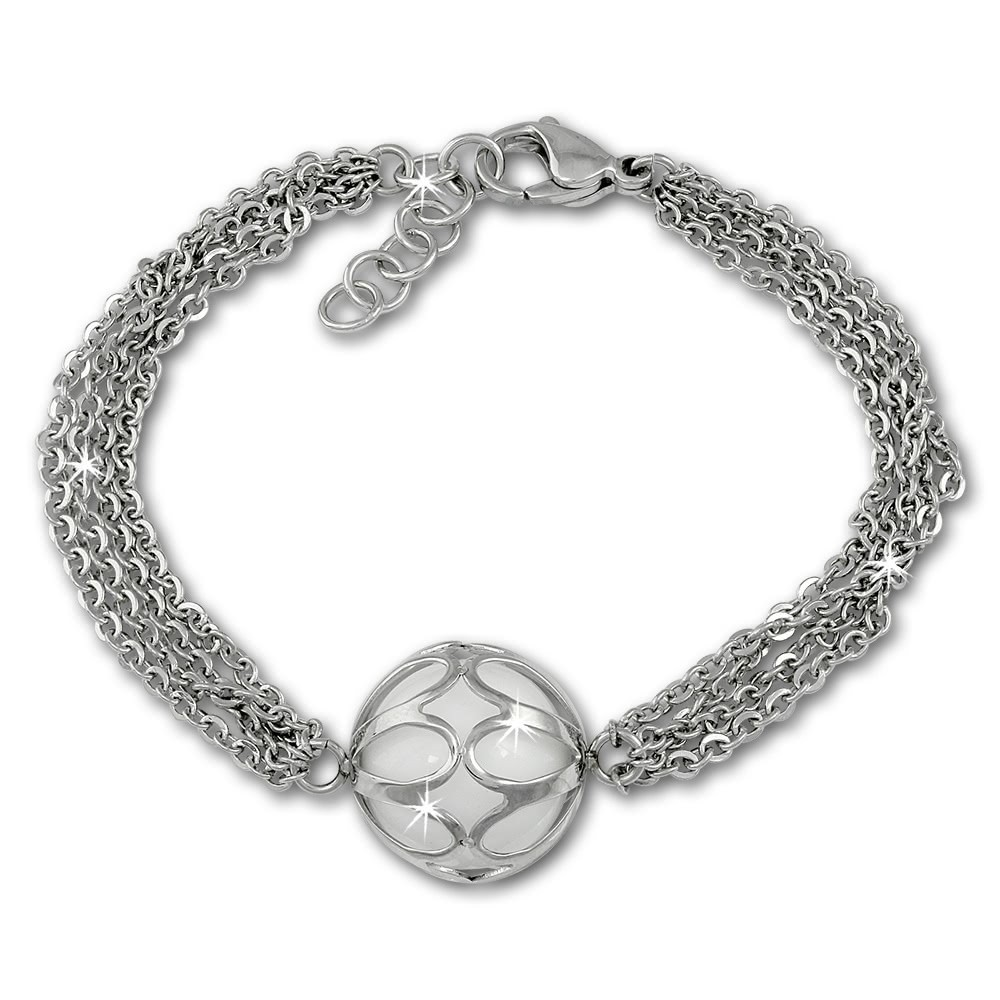 Amello Armband Anhänger Kugel mit Achat weiß Edelstahlschmuck ESAY02W