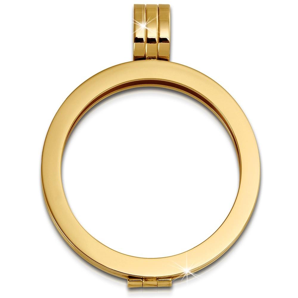 Amello Coinsfassung 30mm Kettenanhänger stahl vergoldet Stahlschmuck ESC001Y