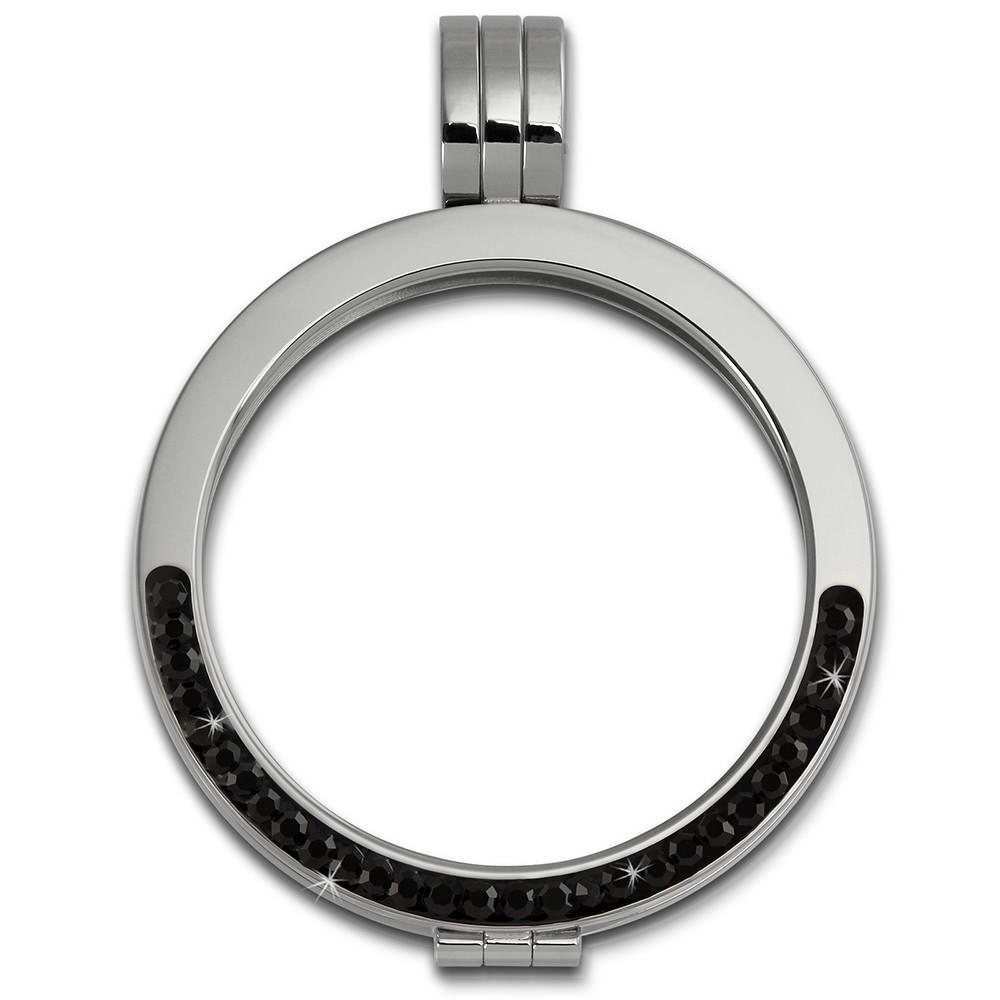 Amello Coinsfassung 30mm Kettenanhänger Zirkonia schwarz Stahlschmuck ESC002S