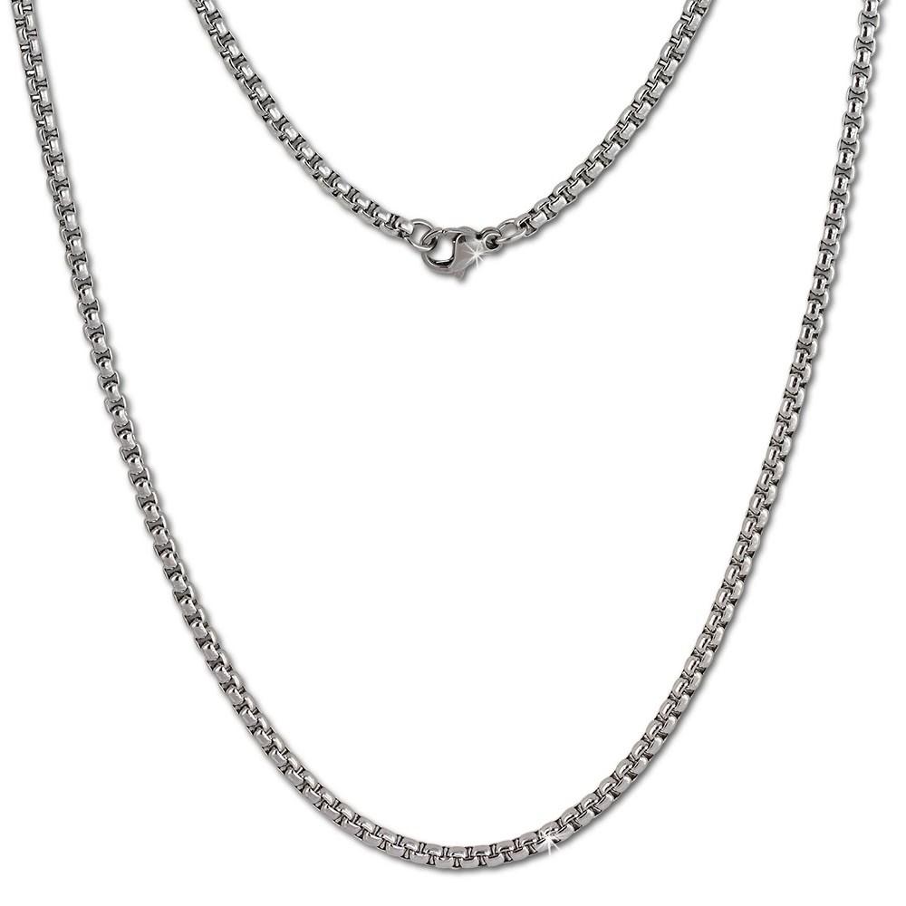 Amello Coinskette Edelstahl-Kette 50cm silber glänzend Stahlschmuck ESC101J