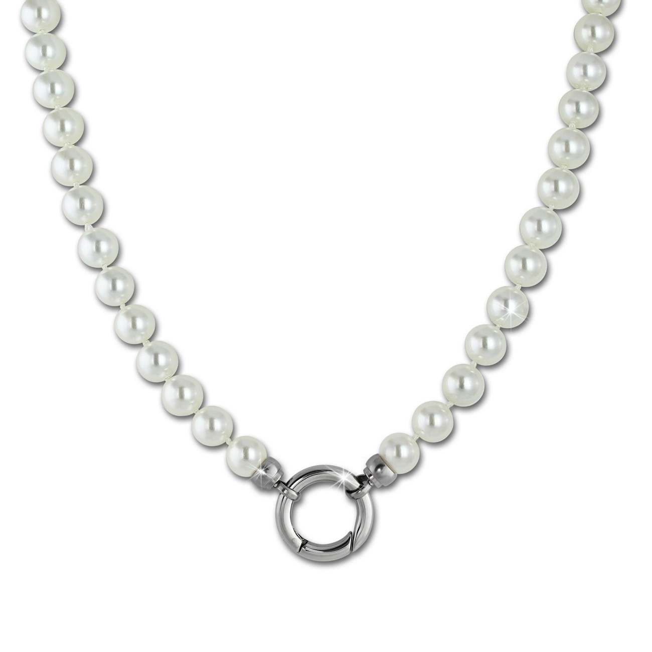 Amello Coinskette Perlen-Kette 50cm perlmutt Edelstahlschmuck ESC110W