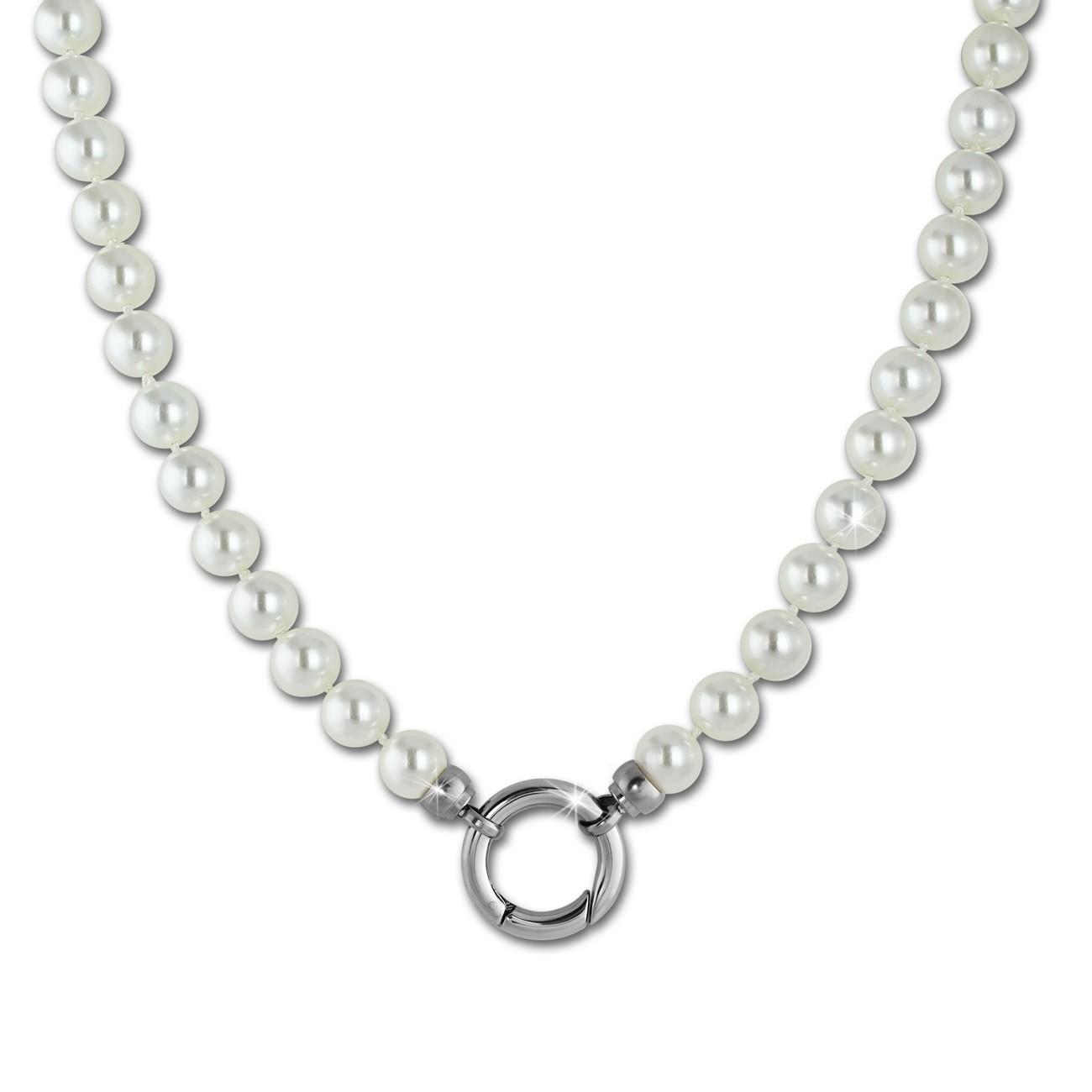 Amello Coinskette Perlen-Kette 80cm perlmutt weiß Edelstahlschmuck ESC112W