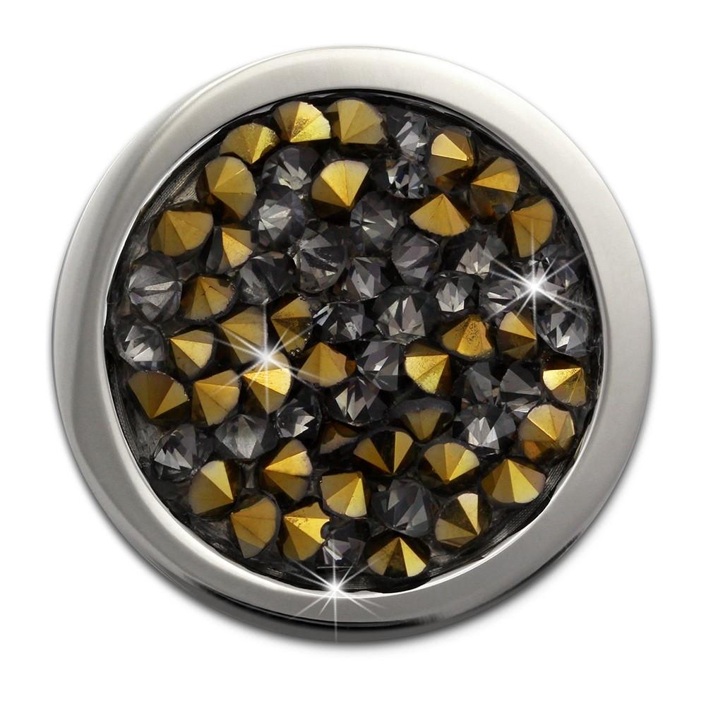 Amello Edelstahl Coin Zirkonia grau/gold 25mm Edelstahlschmuck ESC351K